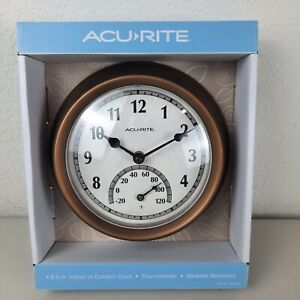ACURITE Copper Finish Indoor/Outdoor Clock & Thermometer Weather Resistant NEW A