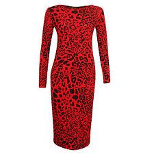 Women's Red Leopard Print Ladies Long Sleeve Bodycon Midi Dress Plus Size SM-XXL