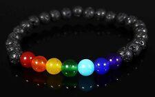 Black Lava Stone Chakra Crystal 7 Gemstone Bead Bracelet Reiki