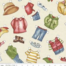 Camping Paper Doll Fabric CLOTHES cream BTY Dolly Dingle cotton quilting NEW