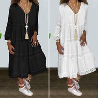 Mode Femme Loisir Ruffled Manche Longue Dentelle Couture Col V Robe Dresse Plus
