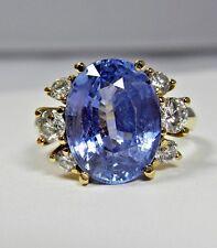 10.80ct Blue Ceylon Sapphire Diamond Engagement Ring Certified No Heat 18K