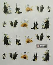 Accessoire ongles : nail art- Stickers Halloween : citrouille, tombe, sorcière