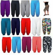 Ladies Harem Baggy 3/4 Shorts Plain&Printed Ali Baba Cropped Trousers Pants 8-26