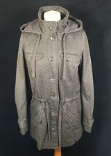 White Stuff Grey Cotton Spotted Hooded Parka Jacket 8/10 Polka Dots Lined Button