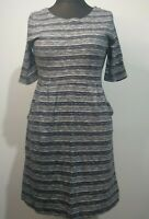 Seasalt Laburnum Dress Navy Blue With Pockets Size 12 White Stripe 100% Cotton