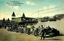 EARLY AUTO RACING, 1912, 100 MILE RACE LINEUP, OLD ORCHARD BEACH, ME, POSTCARD
