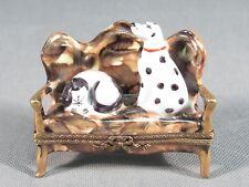 Limoges France Original Trinket Box.Dalmation Dog And Cat On Bench Signed
