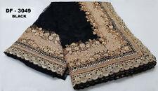 Multi Indian Net Saree Bollywood Wedding Sari Designer Embroidery Top Party Wear