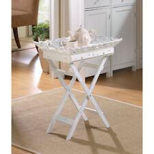 WHITE WOOD SHABBY COTTAGE CHIC ELEGANT FOLDING TRAY STAND TABLE NEW --33139