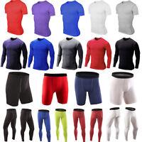 Men Compression Base Layer Running Gym Sports T-Shirt Tops Leggings Shorts Pants