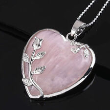 Heart Silver Rose Flower Natural Quartz Gemstone Pendant For Chain Necklace
