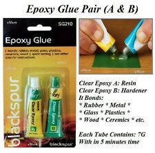 2 PART EPOXY GLUE ADHESIVE CLEAR STRONG RESIN PLASTIC CERAMIC GLASS RUBBER METAL