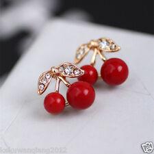 Chic Sweet Red Cherry Rhinestone Crystal Stud Earring Women Lady Jewelry