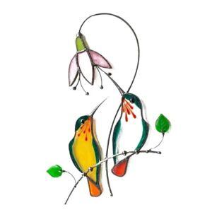 Stained Glass Birds Hummingbird Window Hanging Suncatcher Metal Sun Catcher Gift