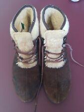 Vintage 1970s Aspen Ski Boots Brown Suede Faux Fur Size 10