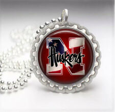 Nebraska Huskers Silver Bottle Cap Pendant Necklace