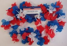 "PATRIOTIC AMERICAN FLOWER LEIS Red White & Blue, 38"", 3 Ct/Pk"
