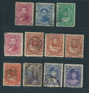 "HAWAII 1882/91, ex Mi. 27-36 used, ""Personalities"", eleven stamps incl. Colours!"