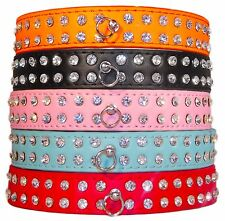 NEW! 2 Row Diamante Rhinestone Bling Crystal PU Leather Dog Cat Pet Collar UK