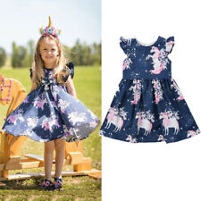 Newborn Toddler Baby Girl floral animal Unicorn pattern Summer Dress One-Piece