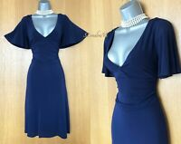 Karen Millen Blue Navy Jersey V Neck Kimono Sleeves Casual Formal Dress UK 10