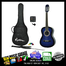 MARTINEZ 3/4 SIZE SLIM NECK CLASSICAL GUITAR PACK WITH BUILT IN TUNER BLUEBURST