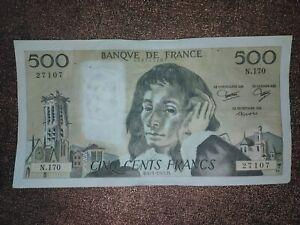 Ancien Billet De 500 Francs Pascal , 1983