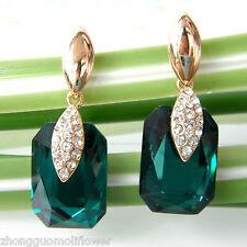 Navachi Square Green Zircon 18K GP Crystal Rhinestone Earrings BH1669
