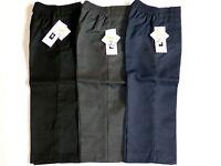 Boys School Uniform Pull Up Trousers Elasticated Waist BLACK/GREY/NAVY 1-8YRS