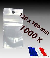 LOT 1000  sachet pochette pochon plastique zip 120x180 12x18 alimentaire f