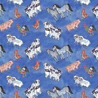Jim Shore Noahs Ark Animal Toss  100% cotton fabric by the yard