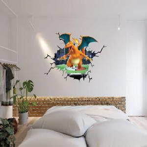 POKEMON CHARIZARD SMASH THROUGH WALL STICKER VINYL ART DECAL 3D EFFECT