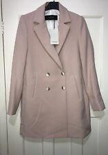 Zara Nude Pink Double Breasted Lapel Collar Coat Blazer Size M