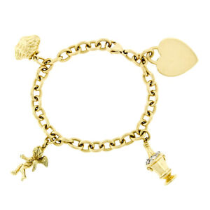 "Tiffany & Co. 18k Gold 7"" Cable Link Angel Heart Oyster Champagne Charm Bracelet"