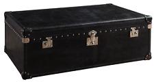 Vintage Black Antique Real Leather Storage Trunk