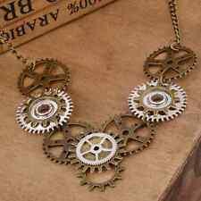 Retro Steampunk Gear Key Pendant Necklace Antique Silver Bronze Chic Accessory