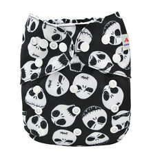 ALVA All In One Cloth Diaper Reusable Washable + Swen-in bamboo Insert Skull