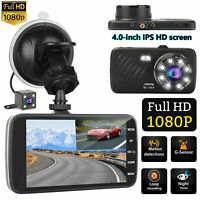 "4"" 1080P Dual Lens Dash Cam Car DVR Front & Rear Camera w/ Night Vision G-sensor"