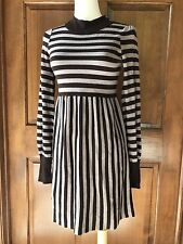 Alice & Olive Striped Empire Waist High Neck L/S Dress Brown White Size XS $298