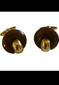 VTG 70s Dior Modernist Gold plated Cufflinks Brown Resin Made In Germany Rare