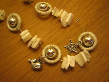 Shell and charm beaded necklace and bracelet