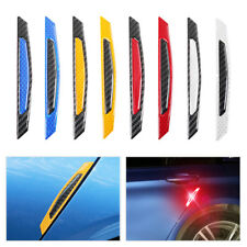 8pcs Carbon fiber Reflector Door Anti-Rub Bumper Strips Protector Sticker Safety