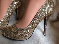Ladies gold sequinned court shoes size 6