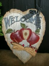 RESIN HEART COUNTRY APPLE WELCOME WALL PLAQUE SIGN