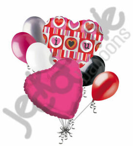7 pc Bright & Colorful I Love You Heart Valentines Day Balloon Bouquet Be Mine