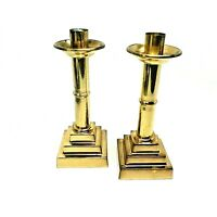 "Vintage Pair (2) Modern 10"" Cokesbury Alter Brass Candle Holders Candlesticks"