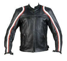 Motorcycle Leather Jacket Motorbike Biker CE Protection Black Mens M-02