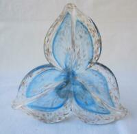 Italian Art Blown Glass Flower Murano Blue Copper Italy No 160 Mother's Day Gift