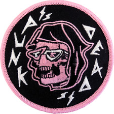 39229 Punk Is Dead Pink Hooded Skull Sunglasses Music Embroidered Iron On Patch